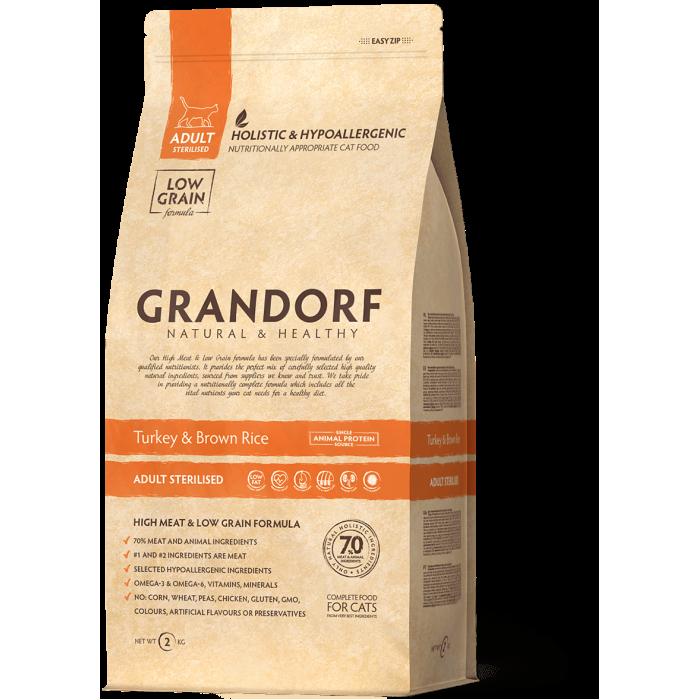 Корм Grandorf для стерилизованных кошек индейка с рисом, 400 г