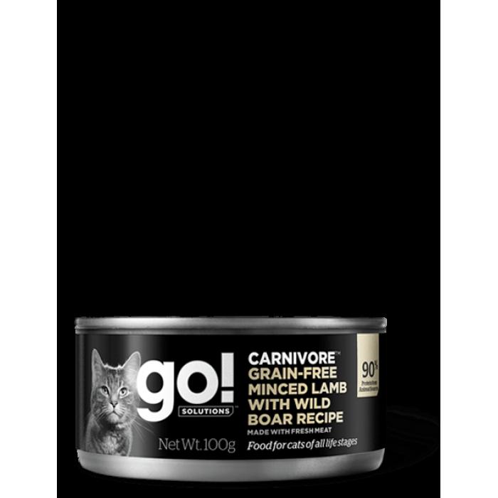 Корм Go! Carnivore Grain Free Minced Lamb & Wild Boar для кошек, беззерновой, с рубленым мясом ягненка и дикого кабана, 100 г