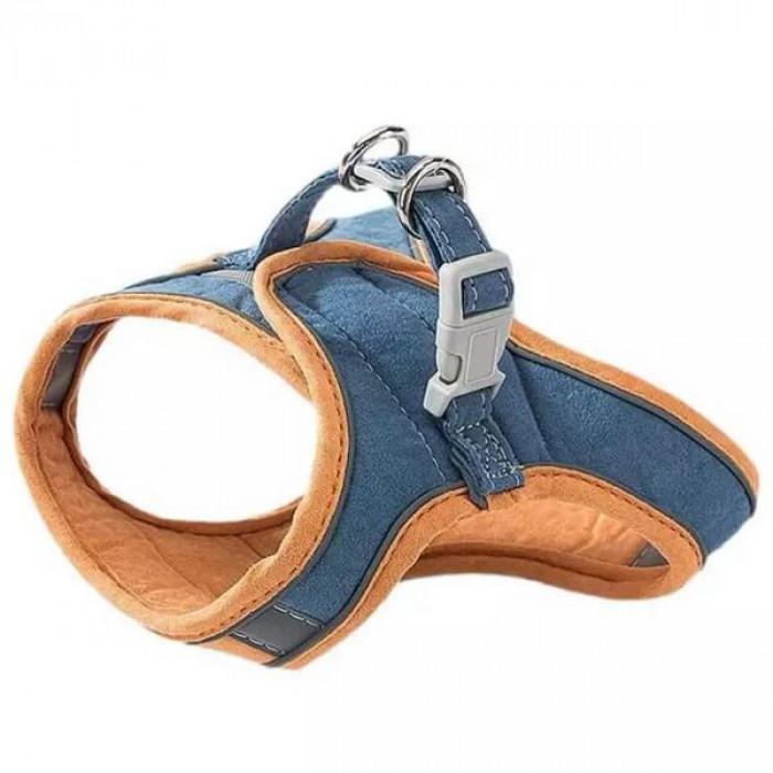 Комплект шлейка и поводок бархатистый, размер XL (обхват груди 40-46 см) сине-оранжевый
