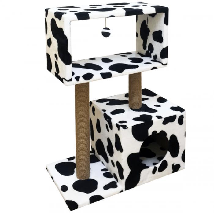 Когтеточка Столбик-куб с мезонином и игрушкой, джут 60*35*85 см