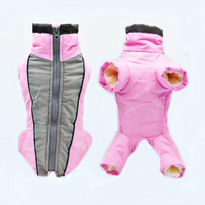 Комбинезон зимний, цвет серо-розовый, размер M (длина спины 28 см)