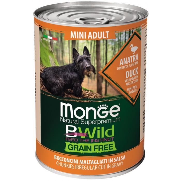 Корм Monge Dog BWild GRAIN FREE Mini беззерновые консервы из утки с тыквой и кабачками для взрослых собак мелких пород 400г