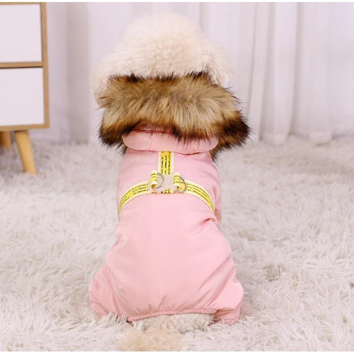 Комбинезон демисезонный, цвет розовый, размер L (длина спины 35 см)