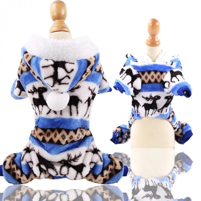 """Комбинезон флисовый """"Олени"""", цвет голубой, размер М (длина спины 25 см)"""