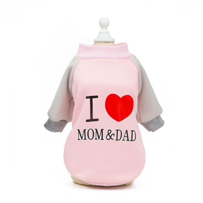 """Свитер """"I love mom & dad"""", цвет розовый, размер S (длина спины 20 см)"""