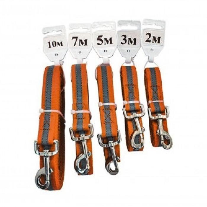 Поводок синтетический ЧИП светоотражающий плотный, 20мм*5,0м, оранжевый