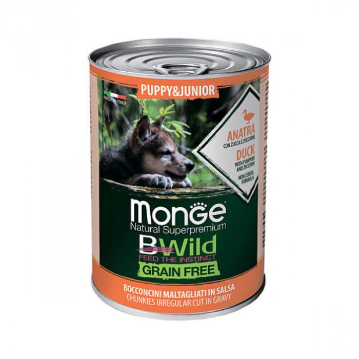 Корм Monge Dog BWild GRAIN FREE Puppy&Junior беззерновые консервы из утки с тыквой и кабачками для щенков всех пород 400г
