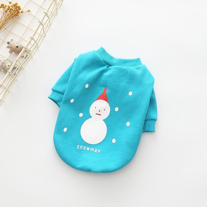 """Свитер """"Snowman"""", цвет голубой, размер L (длина спины 29 см)"""
