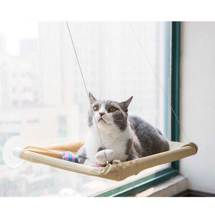 Подвесной лежак для кошек с креплением на окно, 55х35х2,5 см