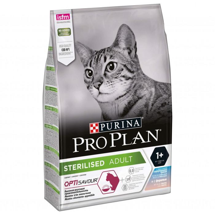 Корм PRO PLAN Sterilised OPTI SAVOUR для стерилизованных кошек, с треской и форелью 400 г