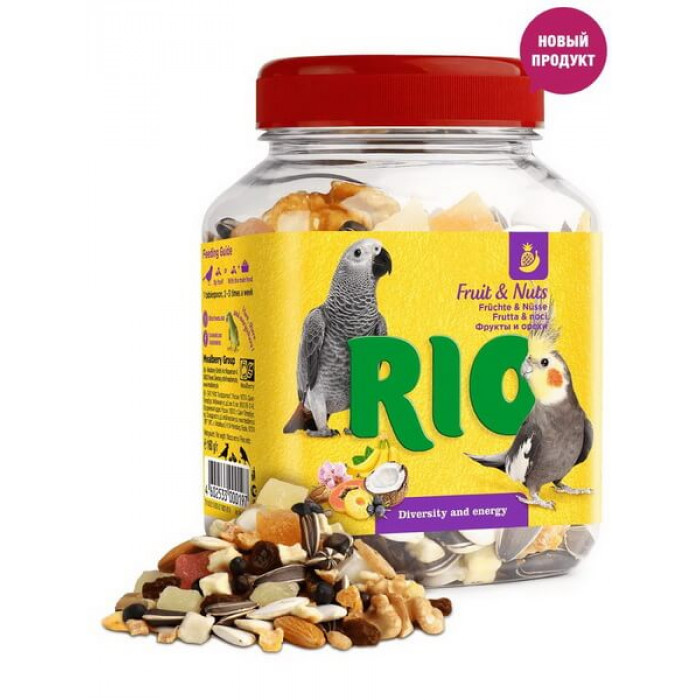 Rio лакомство для средних и крупных попугаев, фруктово-ореховая смесь, банка 160 г
