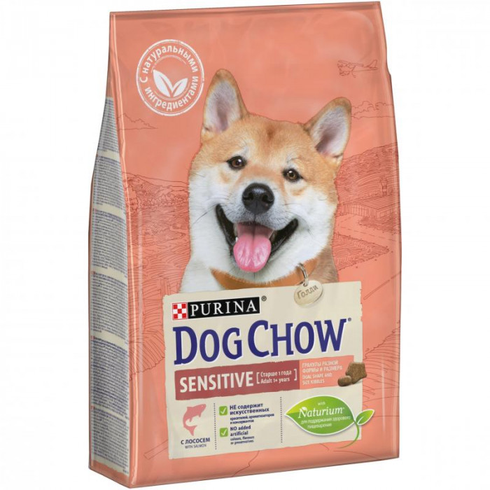 Корм Dog Chow Sensitive Adult для собак с чувствительным пищеварением с лососем, 2.5 кг