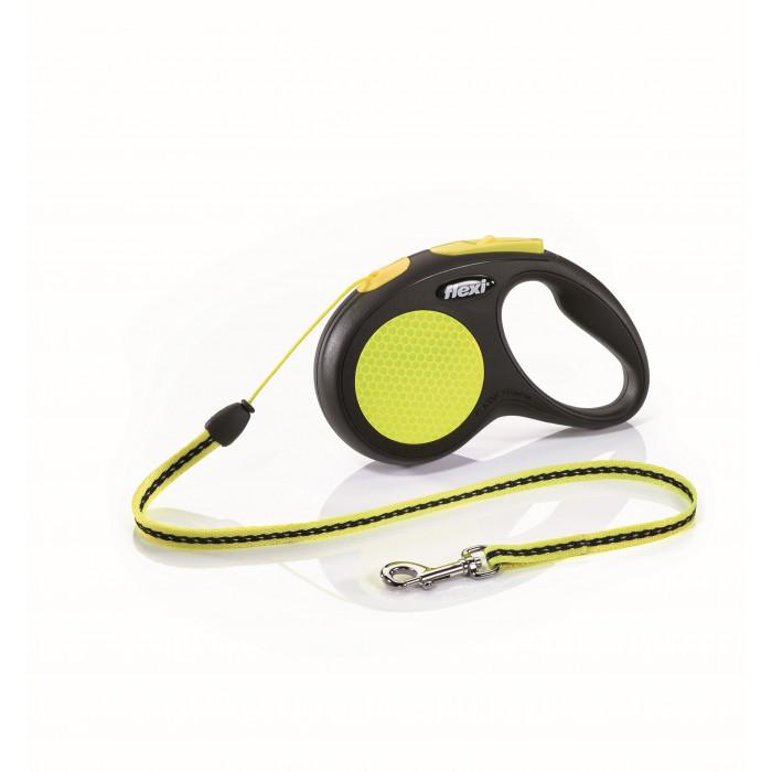 """Поводок-рулетка FLEXI NEW NEON S"""" трос для собак, до 12 кг черный/неон 5 м"""