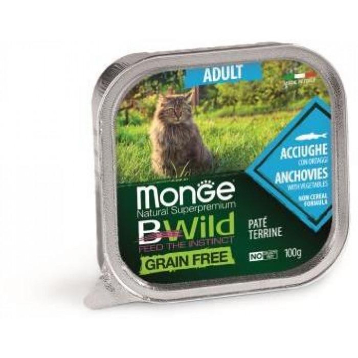Корм Monge Cat BWild GRAIN FREE беззерновые консервы из анчоусов с овощами для взрослых кошек, 100 г