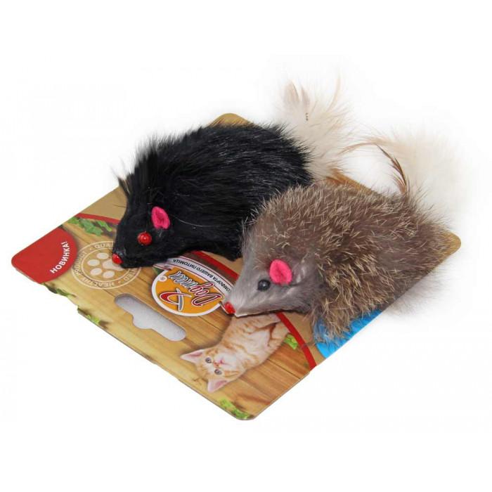Мышка меховая гремящая с пером 6 см, 2 шт