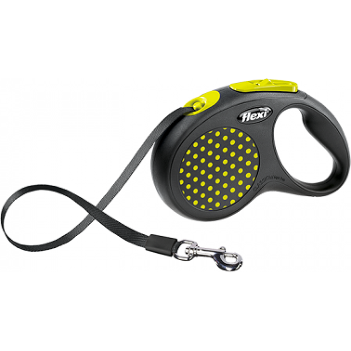 Поводок-рулетка Flexi Design S лента для собак до 15 кг, 5 м черная/желтый горох