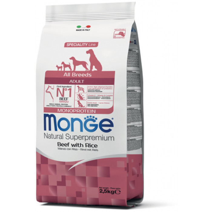 Корм Monge Dog Monoprotein All Breeds Beef and Rice корм для всех пород говядина с рисом, 2.5 кг