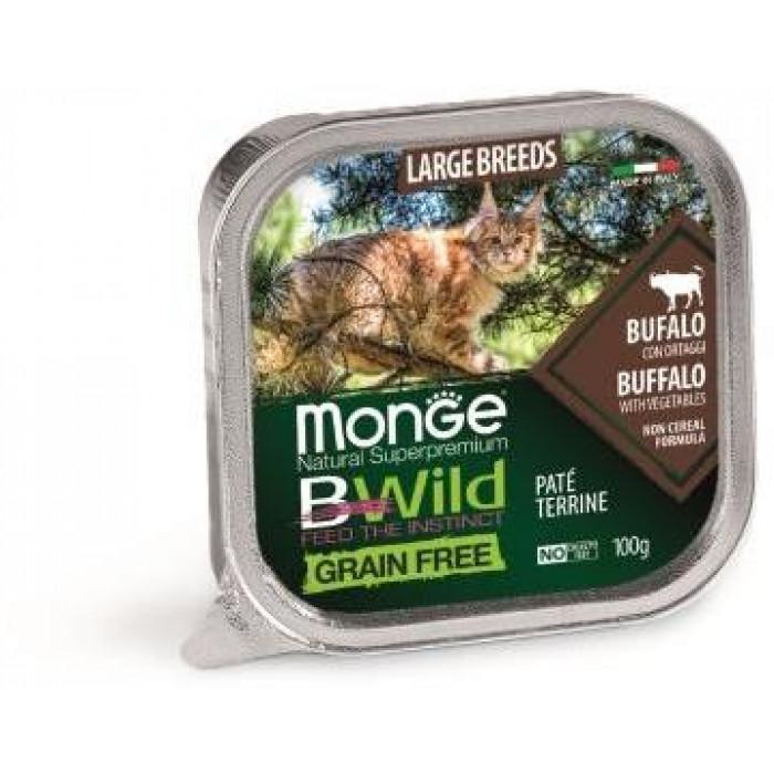 Корм Monge Cat BWild GRAIN FREE беззерновые консервы из буйвола с овощами для кошек крупных пород, 100 г