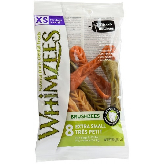 Whimzees VET лакомство для чистки зубов Дентал Браш для собак XS 7 см 8 шт в блистере