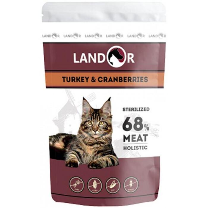 Корм Landor для стерилизованных взрослых кошек индейка, 85 г