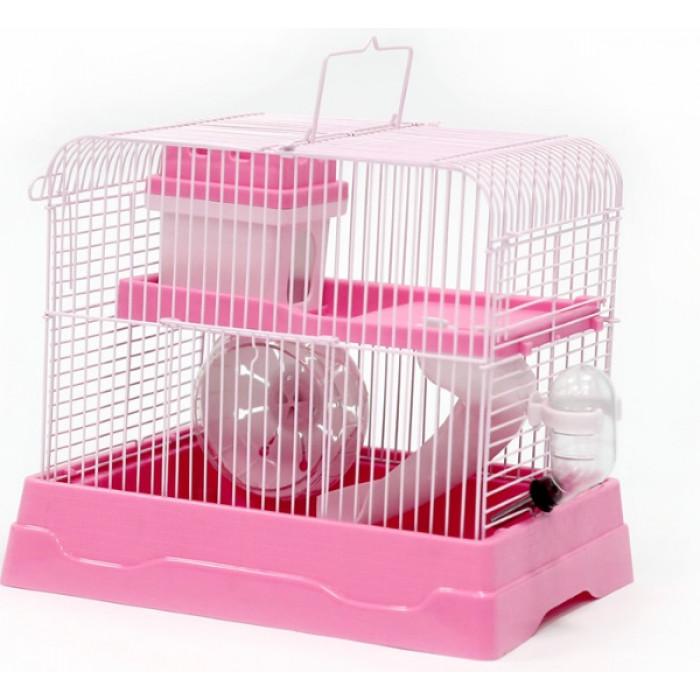 Клетка для хомяка прямоугольная, укомплектованная, розовая, 30*23*25,7 см