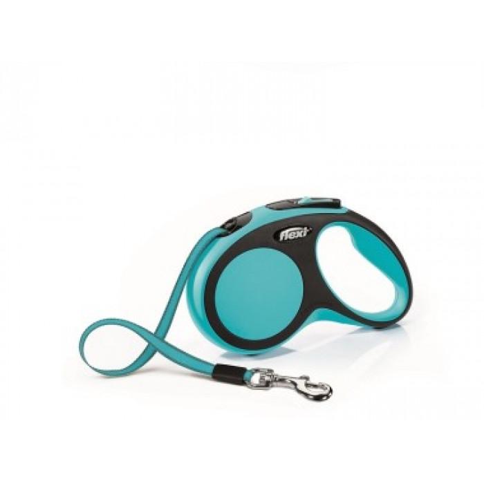 Поводок-рулетка Flexi New Comfort S для собак лента до 15 кг, 5 м черный/синий