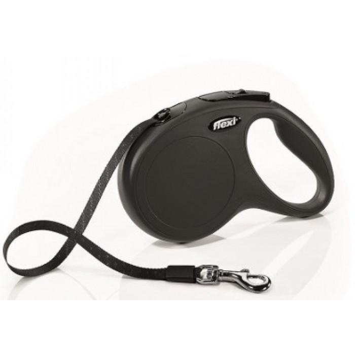 Поводок-рулетка flexi рулетка New Classic M (до 25 кг) 5 м лента черная