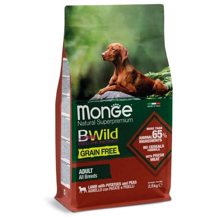 Корм Monge Dog BWild GRAIN FREE беззерновой корм из мяса ягненка с картофелем и горохом для взрослых собак всех пород 2,5 кг
