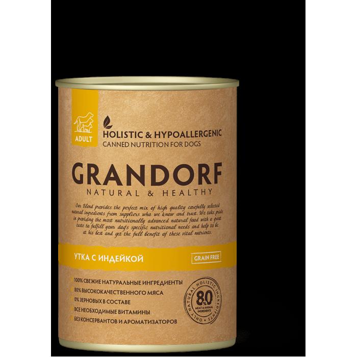 Корм GRANDORF консервы для собак утка с индейкой, 400 г