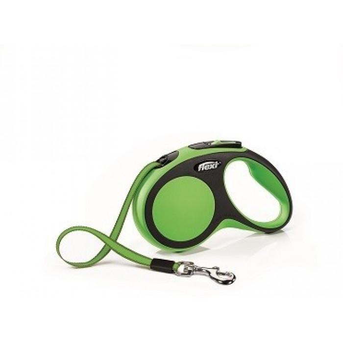 Поводок-рулетка Flexi New Comfort S для собак лента до 15 кг, 5 м черный/зеленый