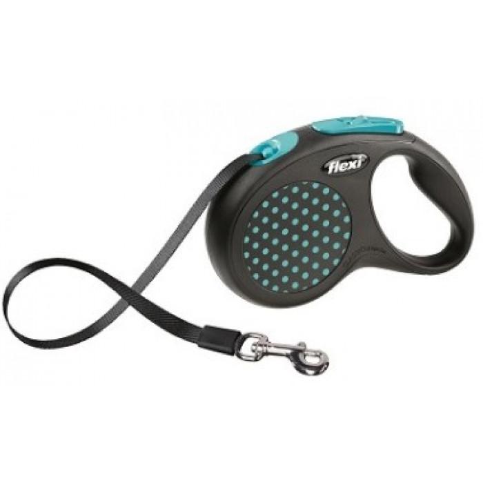 """Поводок-рулетка Flexi """"DESIGN"""", лента для собак, до 25 кг черный/голубой горох 5 м"""