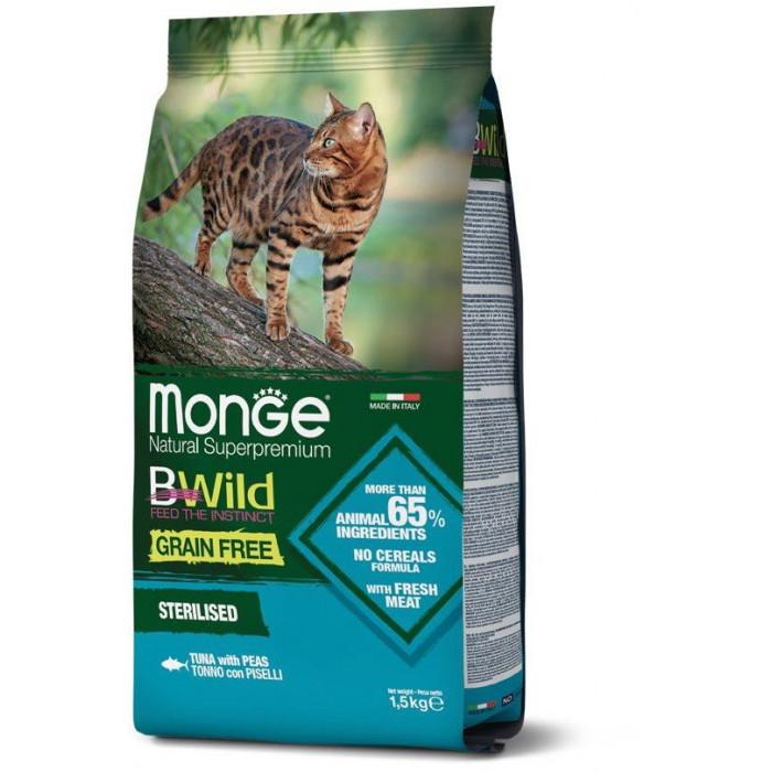 Корм Monge Cat BWild GRAIN FREE беззерновой корм из тунца и гороха для стерилизованных кошек 1,5 кг