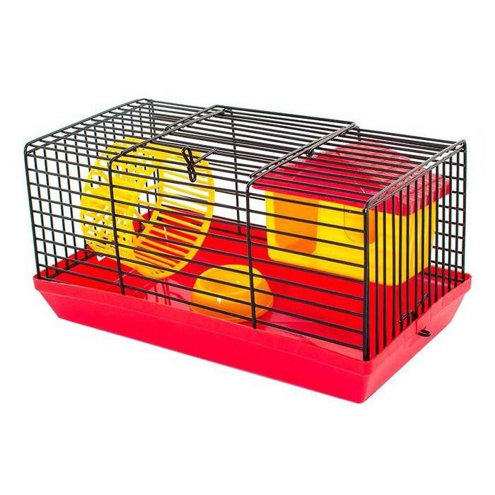"""Клетка-мини для грызунов """"ЕСО"""" (комплект: домик, миска, колесо) 25*14*20см"""