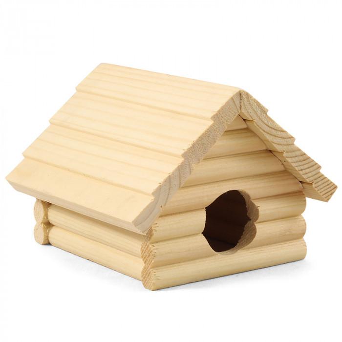 Домик для мелких животных деревянный, 130*130*90мм