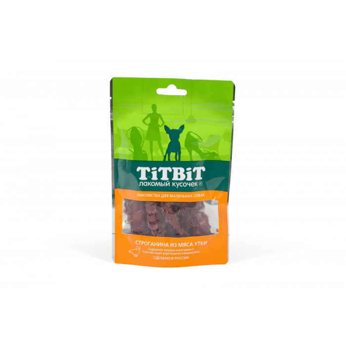 Titbit Строганина из мяса утки для маленьких собак 50 г
