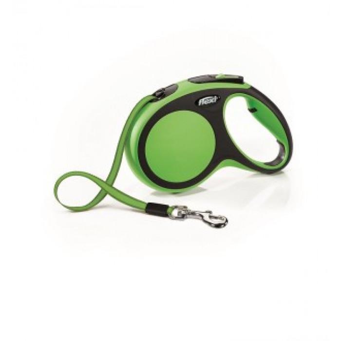 Поводок-рулетка Flexi рулетка New Comfort М для собак лента до 25 кг, 5 м черный/зеленый