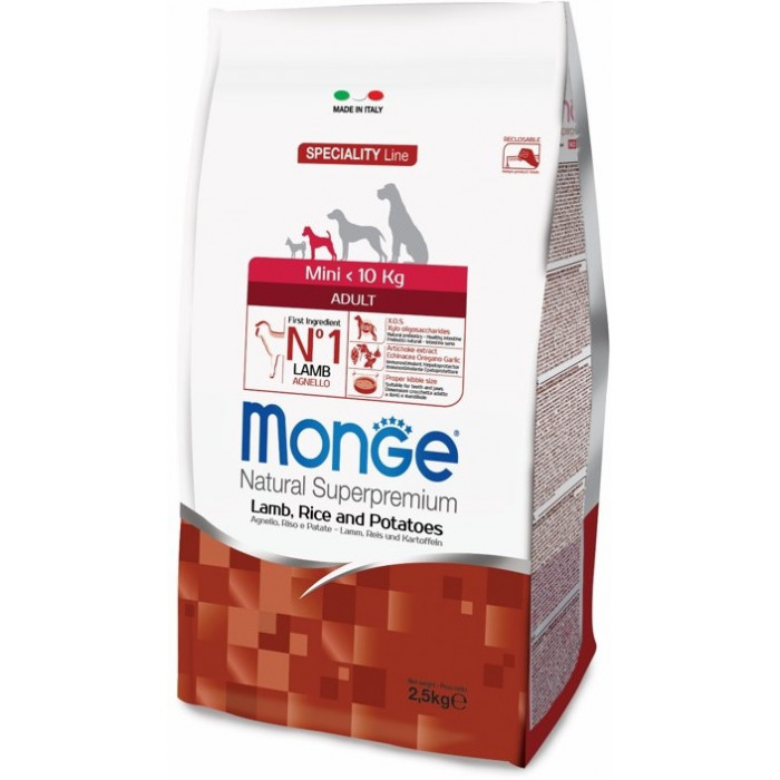 Корм Monge Dog Speciality Mini корм для взрослых собак мелких пород ягненок с рисом и картофелем 2,5 кг