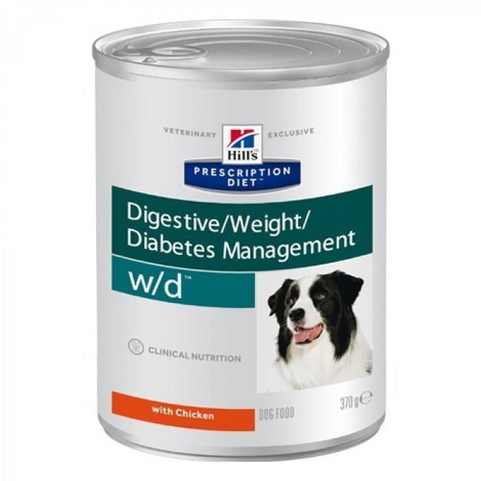 Корм Hill's Prescription Diet w/d Digestive/Weight Management консервы для собак для оптимального веса при сахарном диабете с курицей, 370 г