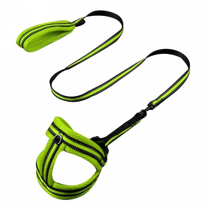 Шлейка и поводок нейлоновый, салатовый M, обхват груди 40-60 см, поводок 1.2м