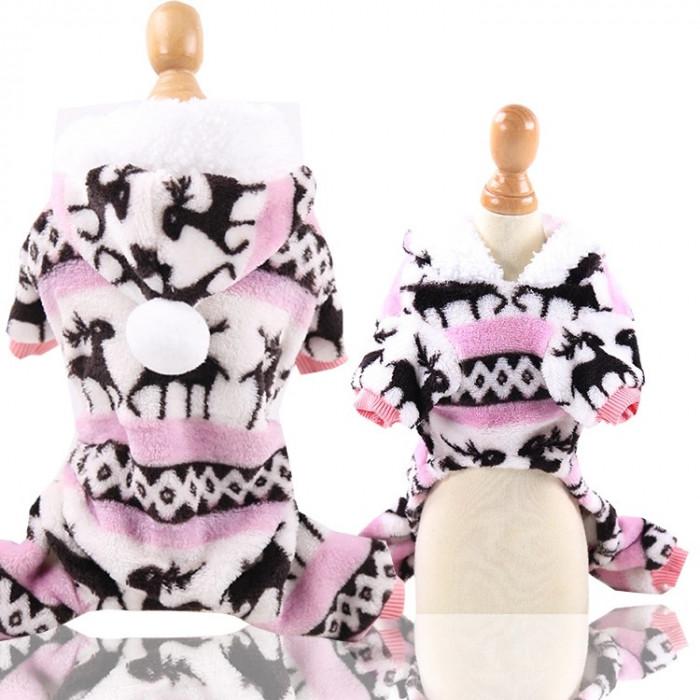 """Комбинезон флисовый """"Олени"""", цвет розовый, размер S (длина спины 20 см)"""
