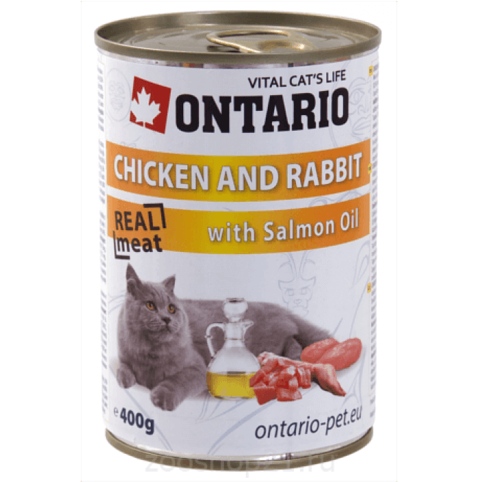 Корм Ontario консервы для кошек: курица и кролик, ONTARIO konzerva Chicken, Rabbit, Salmon Oil, 400 г