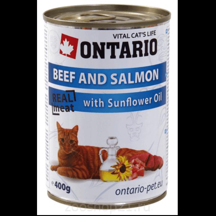 Корм Ontario консервы для кошек: говядина и лосось, ONTARIO konzerva Beef, Salmon,Sunflower Oil, 400 г