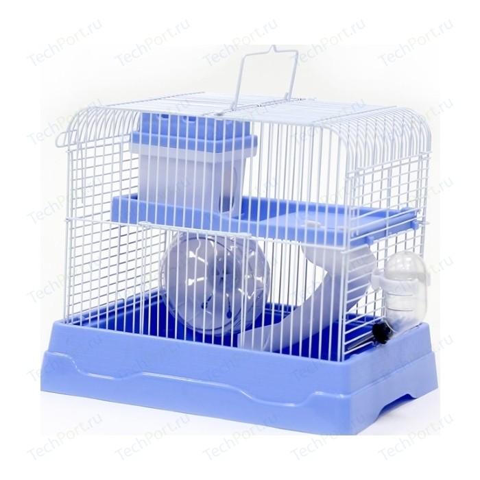 Клетка для хомяка прямоугольная, укомплектованная, голубая, 30*23*25,7 см
