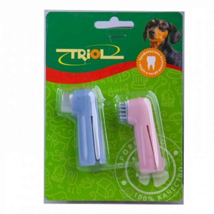 "Набор зубных щеток-напальчников для животных ""Triol"", 2 шт"