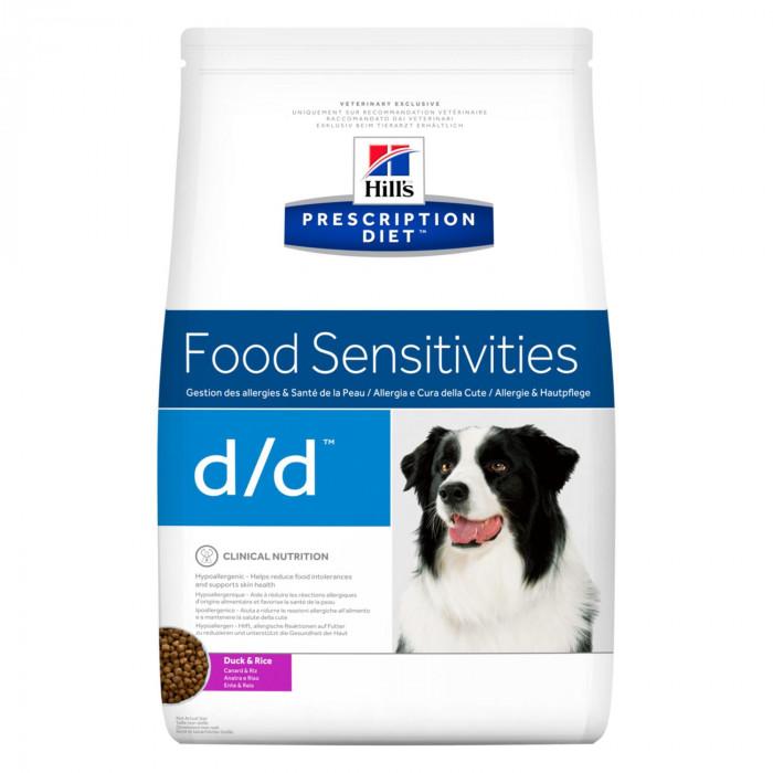 Корм Hill's Prescription Diet d/d Food Sensitivities для собак диета для поддержания здоровья кожи и при пищевой аллергии утка и рис, 12 кг