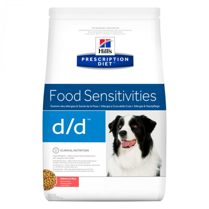 Корм Hill's Prescription Diet d/d Food Sensitivities для собак диета для поддержания здоровья кожи и при пищевой аллергии лосось и рис, 2 кг