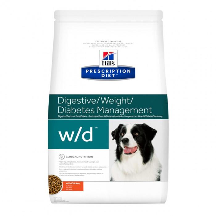 Корм Hill's Prescription Diet w/d Digestive/Weight Management для собак для оптимального веса и здоровья при сахарном диабете с курицей, 1.5 кг