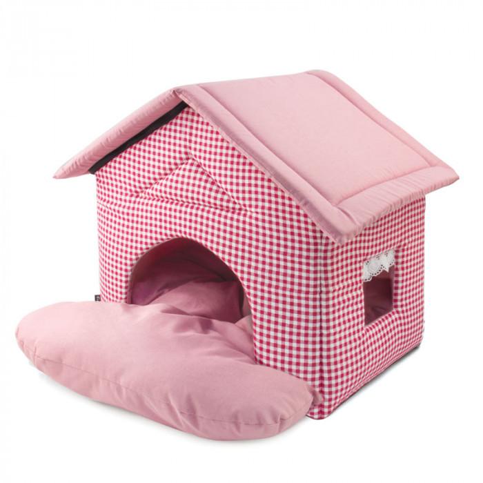 """Лежанка Дом """"Садовый"""" розовый, 460*500*450"""