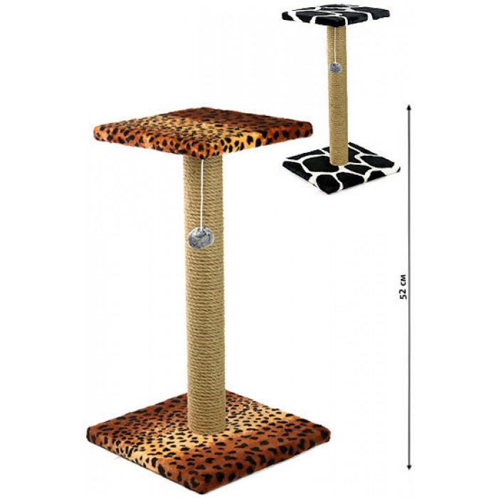 Когтеточка Столбик с площадкой и игрушкой, 52*12 см