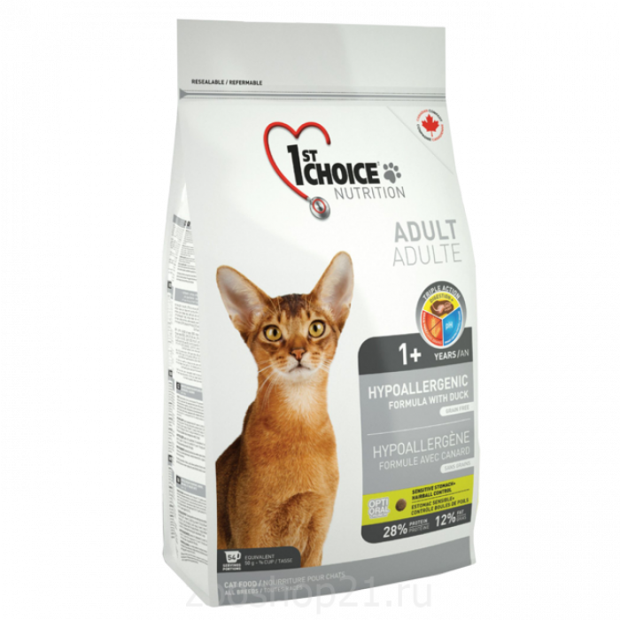 Корм 1st Choice для кошек картошка с уткой (Hypoallergenic) , 2.72 кг